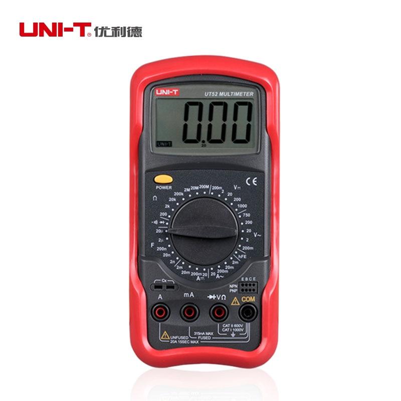 UNI-T UT52 Digital Multimeter Universal Meter Avometer Circuit tester DMM AC DC Voltage Current Resistance Diode Meter Tester