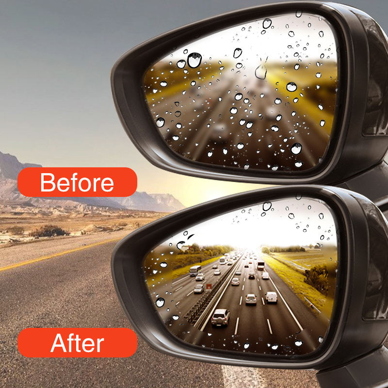 2PCS Car Rearview Mirror Protective Film Anti Fog Window Clear Rainproof Rear View Mirror Protective Soft Film Auto Accessories 5