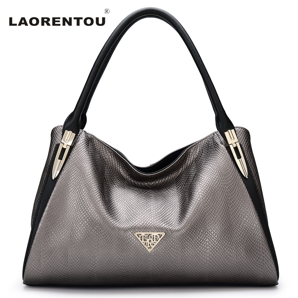 ФОТО Laorentou Luxury Lizard Pattern Cowhide Leather Women Handbag Fashion Soft Silt Pocket Tote Shoulder Bag Leather Female N55