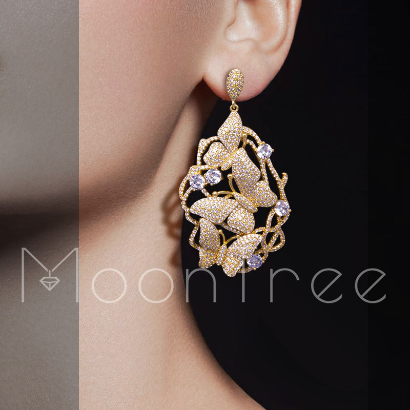 MoonTree 65mm Luxury Floral Petals Luxury Betterfly Full Mirco Paved Microl Zirconia Gold Color Wedding Earring Fashion Jewelry мультиварка marta mt 4309 black copper page 2