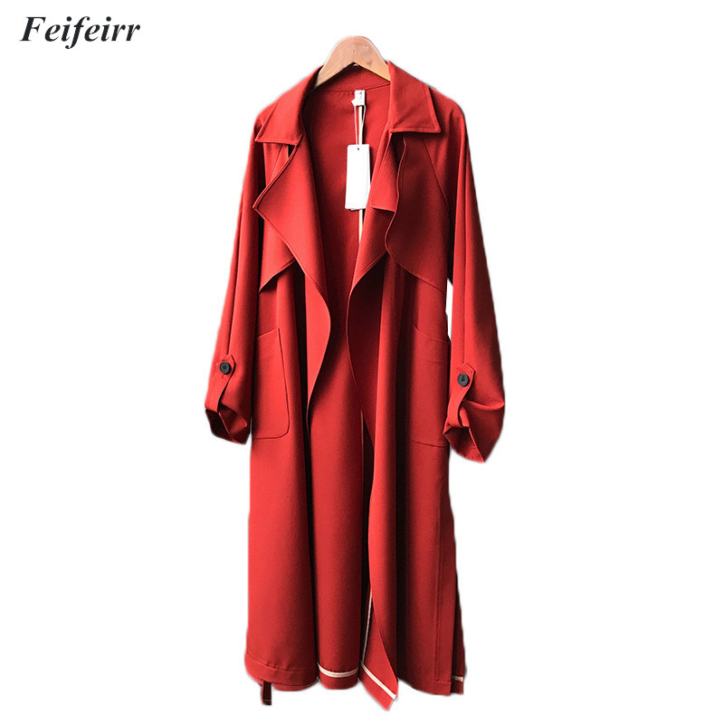 Spring Autumn Women new 2018 Casual Long   Trench   Coat Mature wild Vintage Fashion Belt Plus size windbreaker Mujer