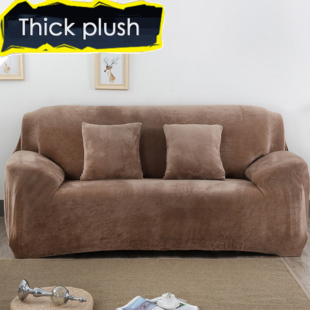 Thick Velvet Plush Sofa Cover Slipcover Stretch Fashion Couch Grey Purple Anti Mite Manta Warm Use Home Decor