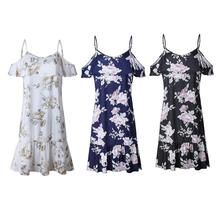 Women Print Floral Halter Chiffon Off Shoulder Party Elegant Sexy Backless Ruffle Dress Girls Summer Lovely Vestidos Beach Dress