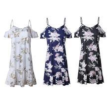 Women Print Floral Halter Chiffon Off Shoulder Party Elegant Sexy Backless Ruffle Dress Girls Summer Lovely