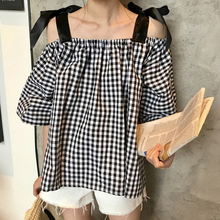 Women Summer Lace Up Blouses Plaid and Tops Print Shirts Female Top