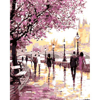 Frameless Romantic Gardan DIY Painting By Numbers Landscape Modern Wall Art Canvas Hand Painted Oil Painting