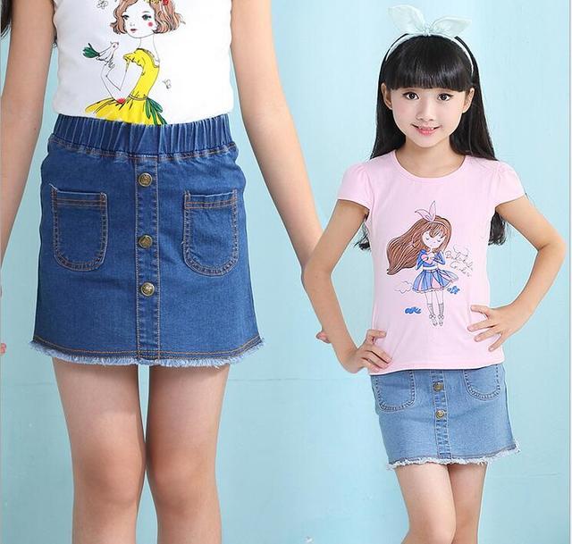 fa5e63e68b 2018 Girls Denim Skirts Summer Children Kids Clothes Casual Toddler Girl  Fishtail Mini Party Jean Pencil Skirt Baby Girl Clothes