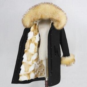 Image 2 - OFTBUY Parka larga impermeable para mujer, abrigo de piel auténtica, chaqueta de invierno, capucha de piel de mapache, forro de piel de zorro cálido y desmontable
