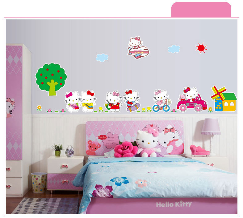 Brand 2017 Cartoon Car Airplane Hello Kitty Cat Wall Sticker For Kids Room  DIY Wallpaper Decorations Home Decor Art Stickers In Wall Stickers From  Home ... Part 70