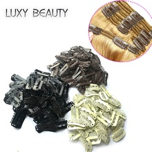 50pcs U 2.3cm Wig Clips Snap For Human Hair Extensions/Weaving Extensions Medium Professional Salon Accessories Brown Blonde