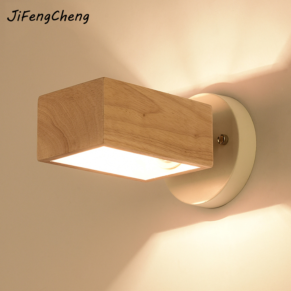 JIFENGCHENG Original Wooden Lighting 220V Modern Creative Bedroom Bedside Lamp E27 Balcony Aisle Solid Wood Wall Light Luminaria