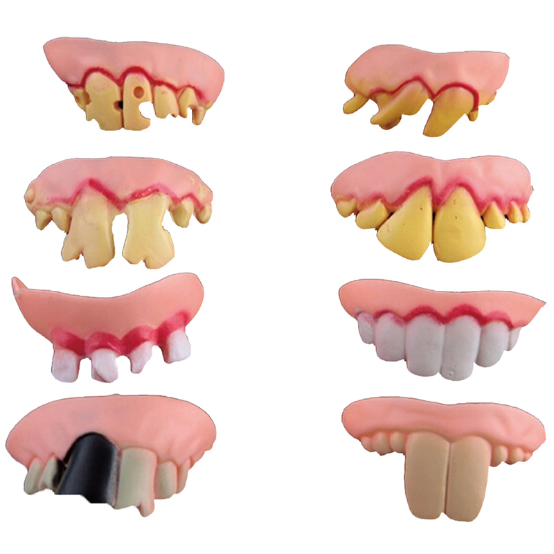 US $1 73 32% OFF|5Pcs Funny Goofy Fake Vampire Denture Teeth Halloween  Decoration Props Trick Toy-in Party DIY Decorations from Home & Garden on