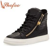 Stan 2017 Otoño Superstar Zapatos Jordan Zapatos Blanco Negro Top Cremallera Lateral calidad Pisos de Goma Casual Shoe Size 33 47 Shofoo