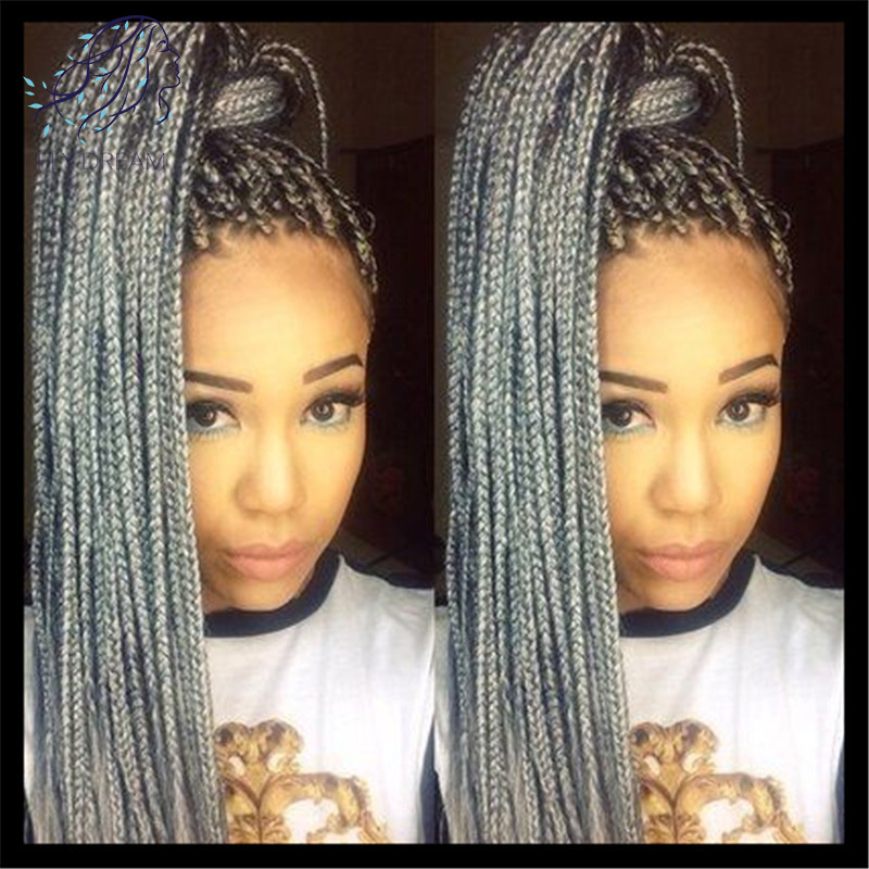 Grey Color Braided Lace Front Wigs Long Grey Synthetic