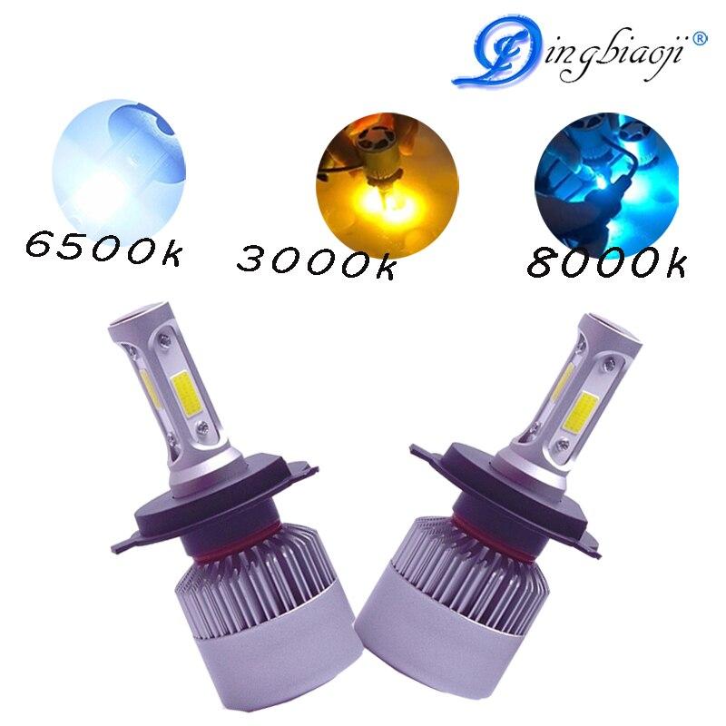 Car Headlight Bulbs(led) Dashing 2x S2 H13 Cob Led Car Hi-lo Headlight Bulb Beam 72w 8000lm 6500k White Light Auto Headlamp 12v 24v