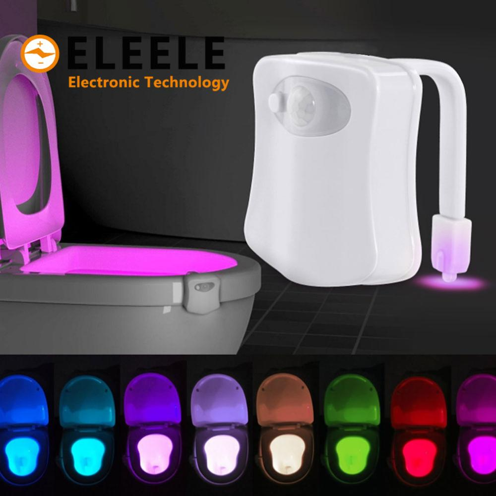 Independent Smart Pir Motion Sensor Toilet Seat Night Light 8 Colors Waterproof Backlight Toilet Bowl Led Luminaria Lamp Wc Toilet Light Be Friendly In Use Led Night Lights