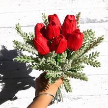 INDIGO- Christmas Red PU Tulip Bouquet (8pcs Tulip+5 pcs) Real Touch Artificial Flower Wedding Floral Party Free Shipping