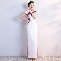 Old Shanghai Plus Size 5XL Formal Cheongsam Wedding Party Dress Oriental Evening Dress Chinese Women Long High open fork Qipao