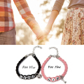 ISHOW Lovers Cuople Bracelet Hers and His Charm Leather Bracelets & Bangles Valentine's Day Gift For Lovers Pulseiras de Couro