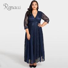 Romacci Women Plus Size Lace Dress Solid Chiffon Deep V Neck 3/4 Sleeve Long Summer Dress High Waist Maxi Gown Elegant Clubwear