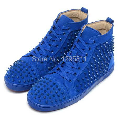 4987e5a965b6 Red Bottom Men Shoes LOUIS SPIKES HIGH TOP BLUE SUEDE FLAT SNEAKERS-in  Men s Casual Shoes from Shoes on Aliexpress.com