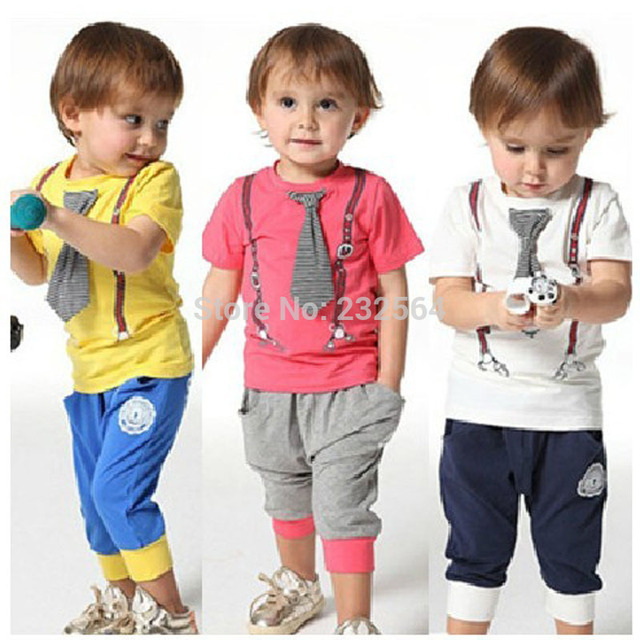 European and American style boys summer cotton tie short sleeve T-shirt pants Set  Gentleman boys' sports suit clothing sets