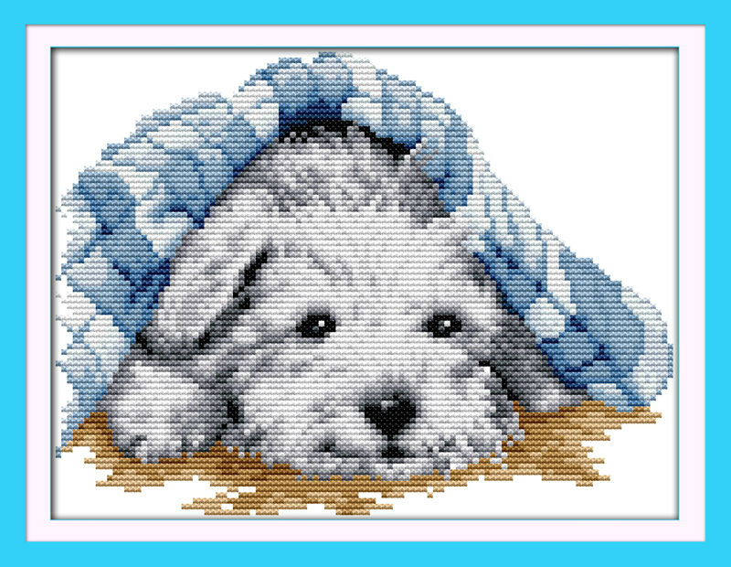 Small lovely dog sleep Printed on Canvas DMC Counted Chinese Cross Stitch Kits printed Cross-stitch set Embroidery Needlework