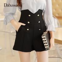 Dabuwawa Black Spring Vintage High Waist Shorts Double Breasted Buttons Skirt Shorts Wide Leg Shorts Women