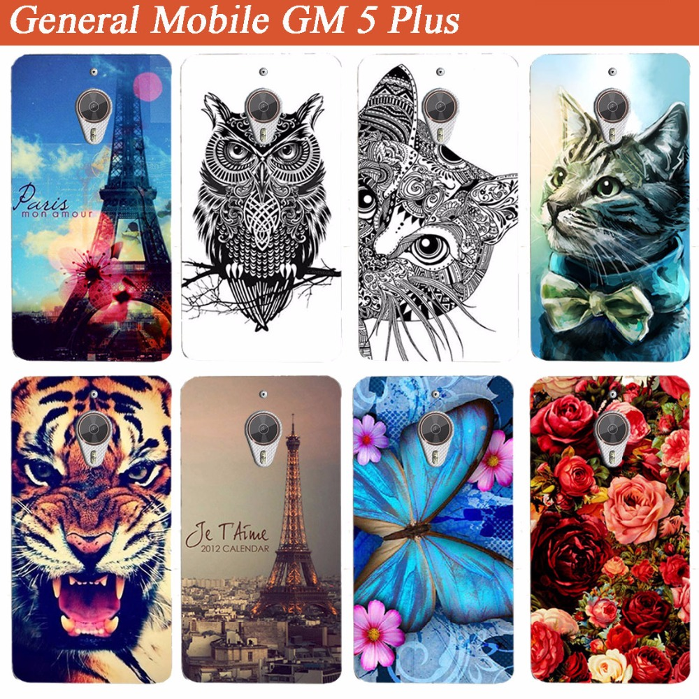"General Mobile GM 5 Plus Case Cover for ZAGTER Marka Diy rəngli yumşaq Tpu qutusu üçün General Mobile GM 5 Plus 5.5 ""telefon çantaları"