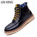 LIN KING New Arrival Men Snow Boots High Top Lace Up Solid PU Ankle Boots Warm Winter Flat Military Boots Massage Cotton Shoes