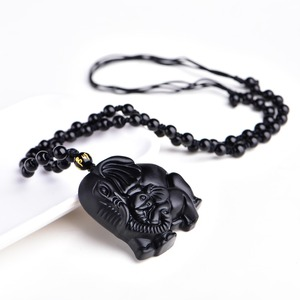 Китайский ручной работы, натуральный черный обсидиан, резной, для мамы и ребенка, милый амулет со слонами, подвеска, ожерелье, модные украшения
