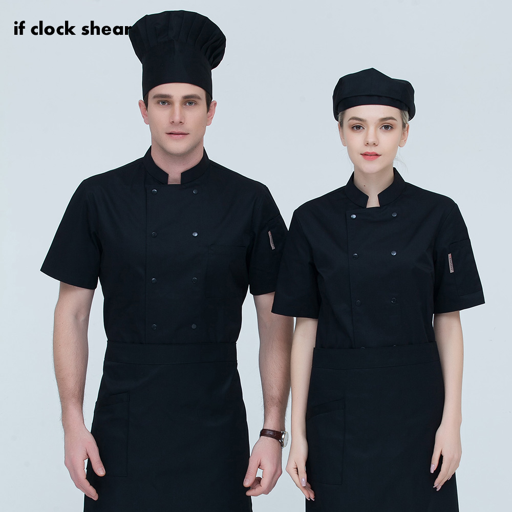 IF New Short Sleeved Men And Women Chef Coat Restaurant Uniforms Shirts Hotel Kitchen Chef Jacket Food Service Chef Work Clothes