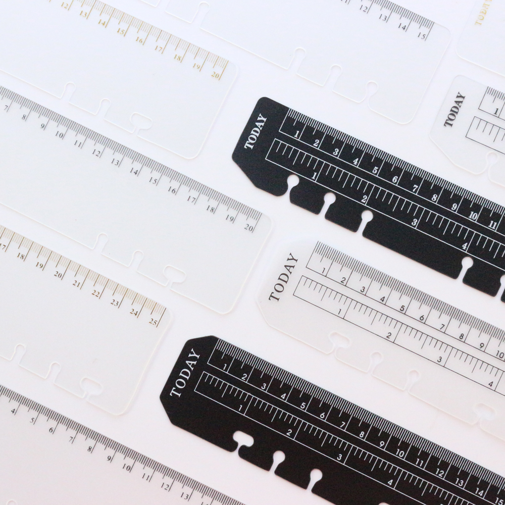 Domikee Classic PP 6 Holes Ruler For Binder Planner Notebooks,fine Office School Index Ruler Bookmark Notebooks Accessories A5A6