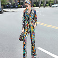 2 Piece Vintage 2016 Autumn Luxury Print Single Button Turn-down Fashion Street Long Sleeve Suit + Slim Women Long Pants Sets