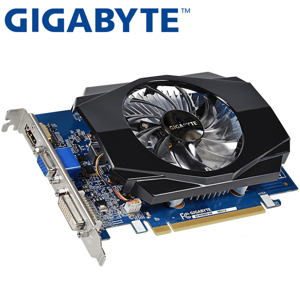 GIGABYTE Video Card Original GT730 2GB SDDR3 Graphics Cards for nVIDIA Geforce GPU games Dvi VGA Used Cards On Sale yeston geforce gtx 1050 gpu 2gb gddr5 128 bit gaming desktop computer pc video graphics cards support pci e x16 3 0