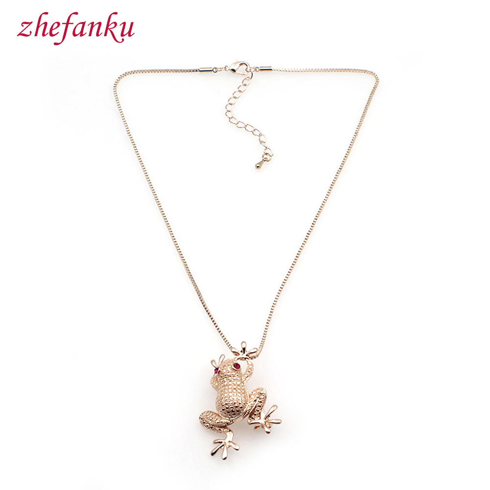Animal Pendant Frog Necklace Jewelry Dual Use Hottest Auspicious Lucky Frog Toad Sweater Chain Long Chain