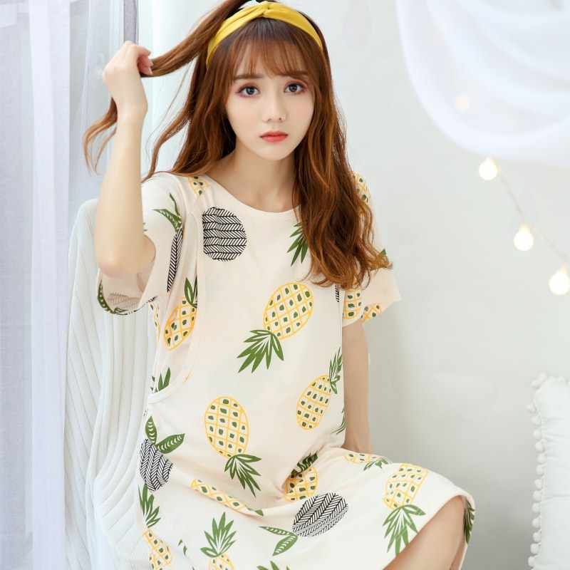 Summer maternity breastfeed nursing nightgowns room wear nightie mothers nightwear breast feeding clothes pregnancy nightdress