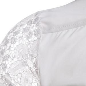 Image 4 - 망 꽃 패치 워크 자수 레이스 셔츠 2019 패션 투명한 섹시한 드레스 셔츠 망 트로프 클럽 파티 이벤트 Chemise