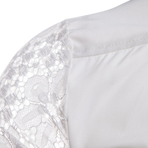 Image 4 - Mens Flower Patchwork Embroidery Lace Shirt 2019 Fashion Transparent Sexy Dress Shirts Mens See Trough Club Party Event Chemise