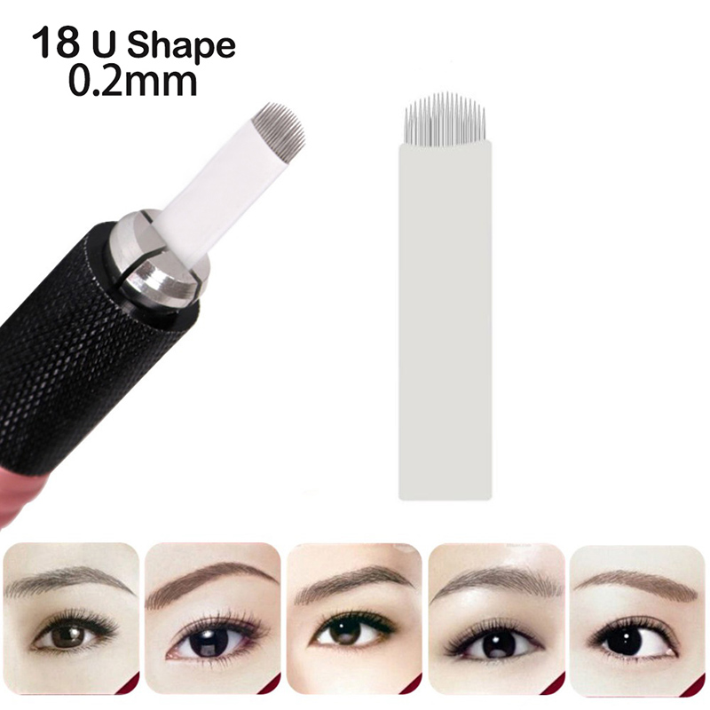 Hearty 18 U Shape Pins Flat Blades For Professional Permanent Makeup Eyebrow Pen Manual Tattoo Needles Supply Free Shipping 10 Pcs Tattoo & Body Art