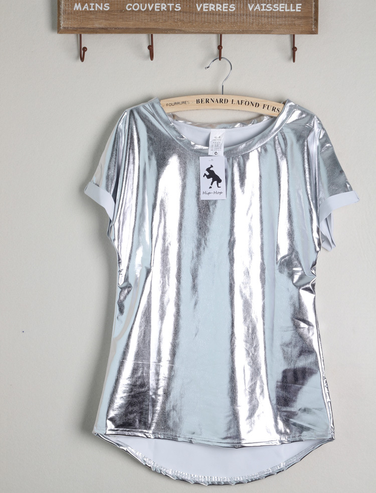 New punk women silver t shirts shiny short sleeved tee for Silver jeans t shirts