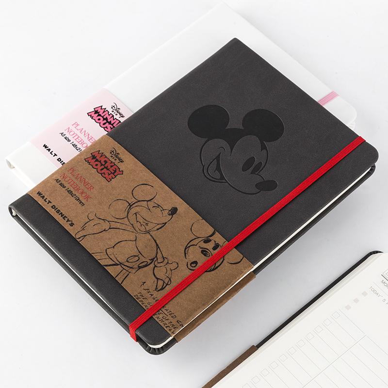 Cartoon Mouse Theme Classic PU Band Notebook A5 Paper Book 96 Sheets All Grid Page Diary