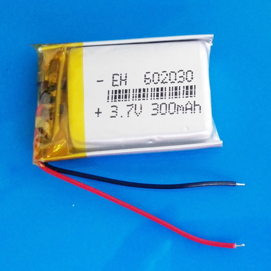 <font><b>602030</b></font> 3.7V 300mAh lithium polymer lipo rechargeable battery li cells for MP3 MP4 bluetooth GPS bluetooth headset camera image