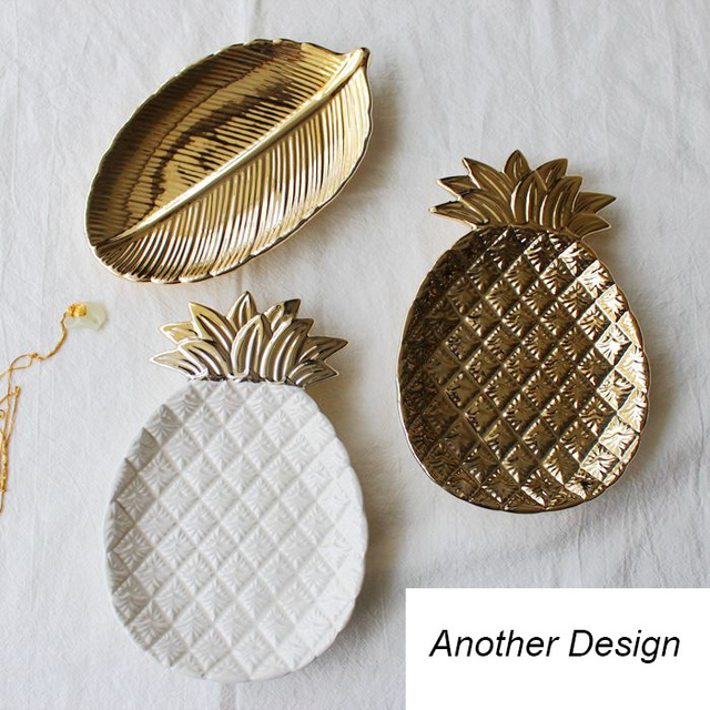 Home Decor Relief Plates Gold Leaf Tray Pineapple Jewelry Storage Plates  Fruit Tray Dishes Ceramic Food