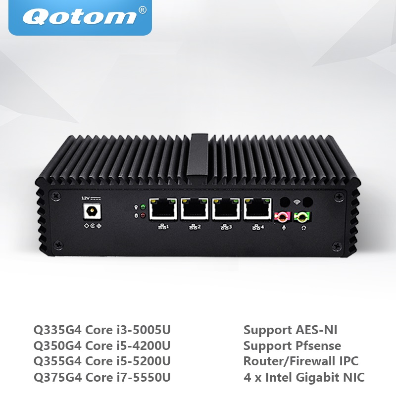 Qotom Mini PC Core i3 i5 i7 avec 4 Gigabit Ethernet NIC Pfsense AES-NI Fiewwall routeur Machine Micro ordinateur industriel Q300G4