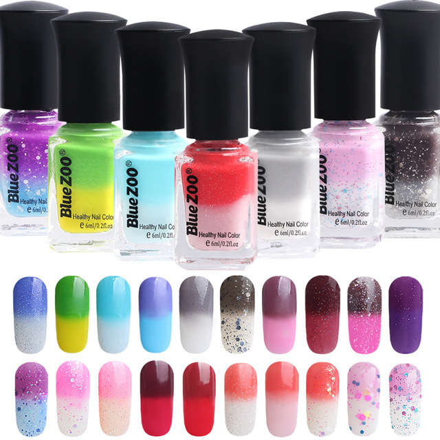 6ml Bottle 20 Color Water Gel Nail Polish Glitter Chameleon Temperature Change Lacquer