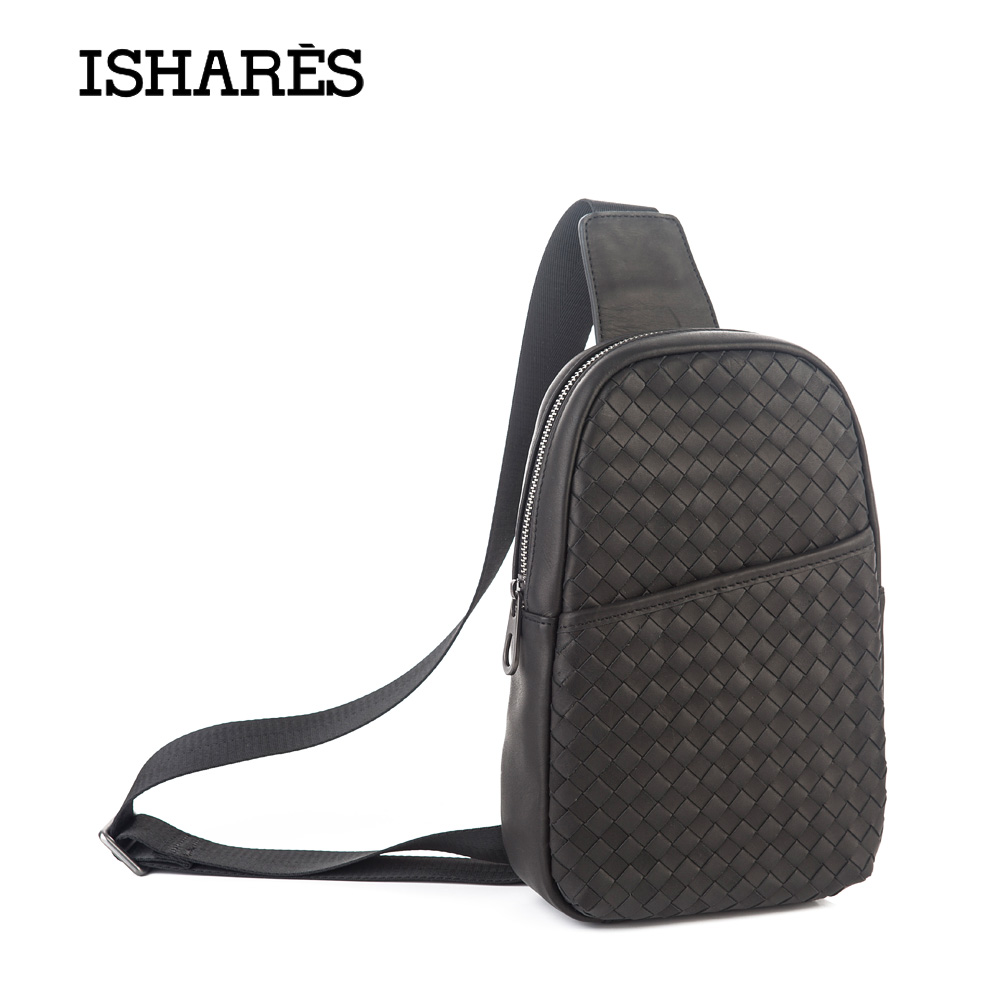 ISHARES Genuine Leather woven Chest Packs men calf leather Messenger Bags Cow Leather High Quality Special Fashion Bags IS5060