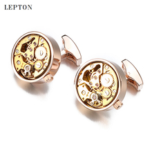 Hot Functional Watch Movement Cufflinks for Mens Lepton Stainless Steel Steampunk Gear Watch Mechanism Cuff links With Gift Box