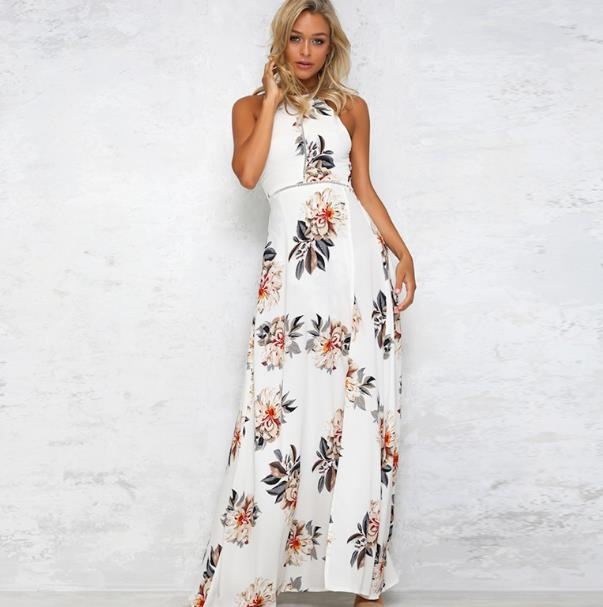 MAYFULL chiffon sexy floral print halter dress o neck backless long split dress lady evening party beach seaside holiday dress in Dresses from Women 39 s Clothing
