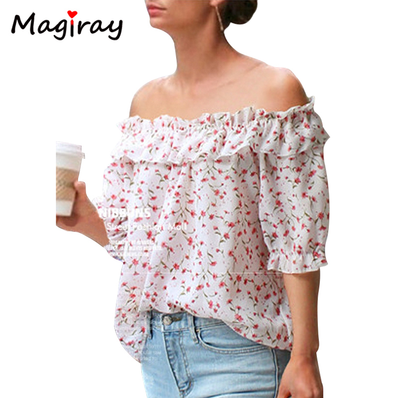 Magiray Plus Size 4XL 5XL Summer Chiffon Blouse Tops Slash Neck Off Shoulder Shirt Women 2018 Floral Ruffle Chemise Femme C28